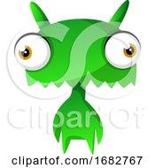 Green Cute Monster Illustration Print