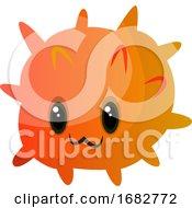 Orange Cute Monster Illustration Print
