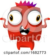 Poster, Art Print Of Red Dancing Monster With A Crown Illustration Print