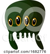 Green Meduza Monster With Four Eyes Illustration