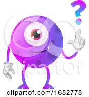 Poster, Art Print Of Purple Monster With A Question Sign Illustration