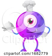 Poster, Art Print Of One Eyed Purple Monster Chef Illustration