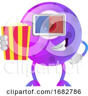 Purple Monster In Cinema Withy 3d Glasses Illustration