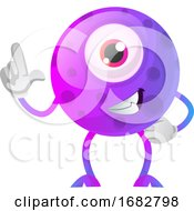 Poster, Art Print Of One Thumbs Up Purple Monster Illustration
