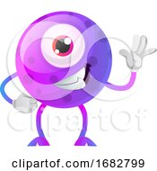 Poster, Art Print Of Cool One Eyed Purple Monster Waving Illustration