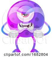 Poster, Art Print Of Angry Purple Monster Illustration