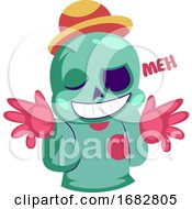 Poster, Art Print Of Colorful Monster Doesnt Care Illustration On A White Background