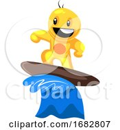 Poster, Art Print Of Yellow Creature Surfing On The Wave Illustration On A White Background