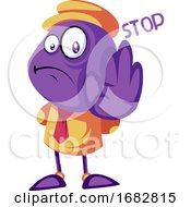 Poster, Art Print Of Purple Creature Holding Hand And Saying Stop Illustration On A White Background