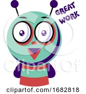 Colorful Monster Saying Great Work Illustration On A White Background