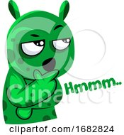Suspicious Green Monster Illustration On A White Background