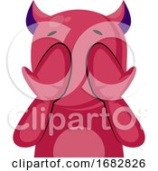 Scared Pink Monster With Horns Covering Eyes With Hands Illustration On A White Background