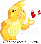 Poster, Art Print Of Yellow Monster Sending A Kiss Illustration On A White Background