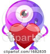 Poster, Art Print Of Purple Monster Holding Heart Illustration