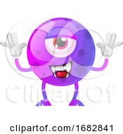 Poster, Art Print Of Purple Monster Posing For A Photo Illustration