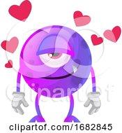 Poster, Art Print Of Purple Monster In Love Illustration