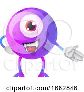 Poster, Art Print Of Purple Monster Showing Down With Hand Illustration