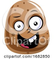Creepy Looking Brown Potato Illustration