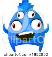 Blue Smiling Monster With Four Eyes Illustration