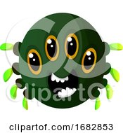 Poster, Art Print Of Green Monster With Four Eyes Illustration