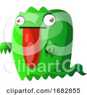 Green Monster With Big Red Tongue Illustration