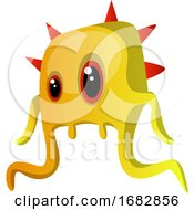 Yellow Monster With Four Red Horns Illustration