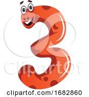 Orange Monster In Number Three Shape Illustration