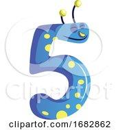 Blue Monster In Shape Of Number Five Illustration