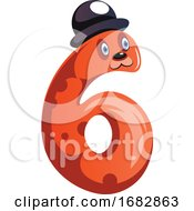 Orange Monster With A Hat And Number Six Shape Illustration