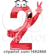 Poster, Art Print Of Red Monster Shape Number Two With A Peace Sign Illustration