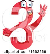 Number Three Monster Showing Three Fingers Illustration