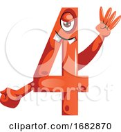 Number Four Monster Showing Four Fingers Illustration