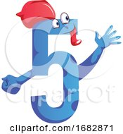 Number Five Blue Monster With A Hat And Showing Five Fingers Illustration