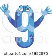 Blue Monster In Number Nine Shape With Hands Up Illustration