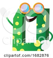 Poster, Art Print Of Green Monster In Number Zero Shape With Glasses Illustration
