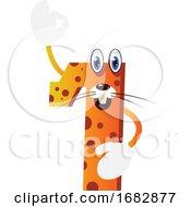 Orange Monster In Number One Shape Holding His Hand Up Illustration