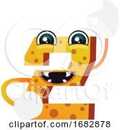 Orange Monster In Number Two Shape Illustration