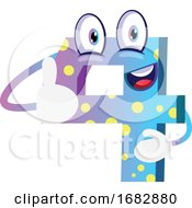 Blue Monster Number Four Shape Thumb Up Illustration