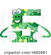 Poster, Art Print Of Number Five Green Monster Showing Thumbs Up Illustration