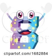 Number Eiight Monster With Hands Up Illustration