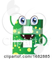 Poster, Art Print Of Green Monster Number Nine Shape Illustration