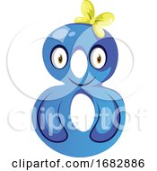 Blue Monster In Number Eight Shape Illustration