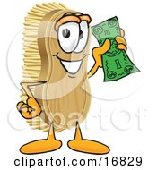 Clipart Picture Of A Scrub Brush Mascot Cartoon Character Waving Cash In The Air by Toons4Biz