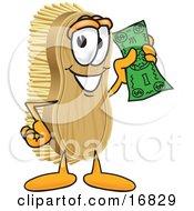 Scrub Brush Mascot Cartoon Character Waving Cash In The Air