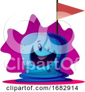Happy Cartoon Blue Monster Illustartion