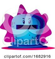 Angry Blue Cartoon Monster Illustartion