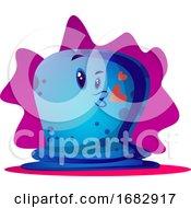 Blue Cartoon Monster In Love Illustartion