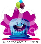 Poster, Art Print Of Happy Blue Monster With Ballons Illustartion