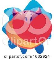 Poster, Art Print Of Cartoon Purple Monster With Red Heart Illustartion