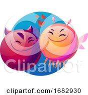 Poster, Art Print Of Two Cartoon Monsters In Love Illustartion